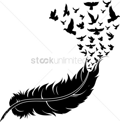 feather tattoo vector feather with birds vector image 1514999 stockunlimited