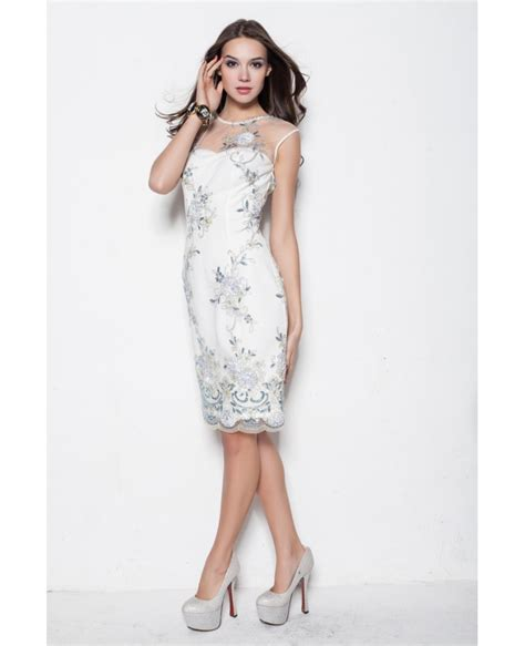 Style Embroidery Dress style embroidery white fitted dress dk219