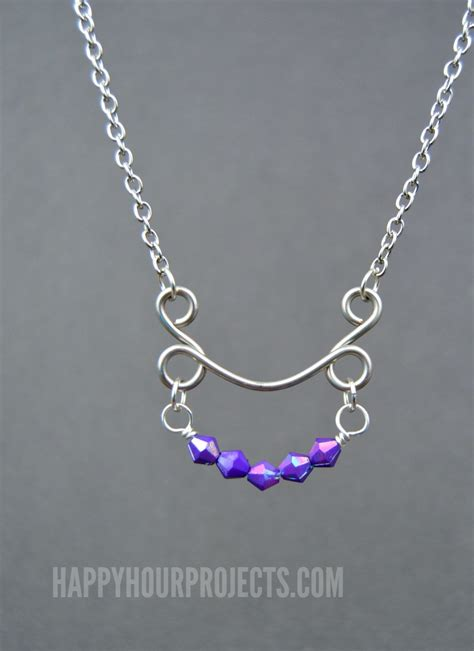 how to make jewelry with wire diy beaded arc wire necklace happy hour projects