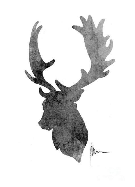 large printable reindeer head deer head art print watercolor painting painting by joanna