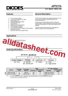 diod on ap ap7217a datasheet pdf diodes incorporated