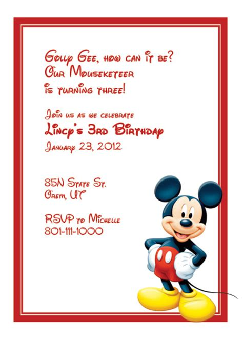 Mickey Mouse Free Invitation Wedding Invitation Templates Printable Invitation Kits Mickey Mouse Invitation Template