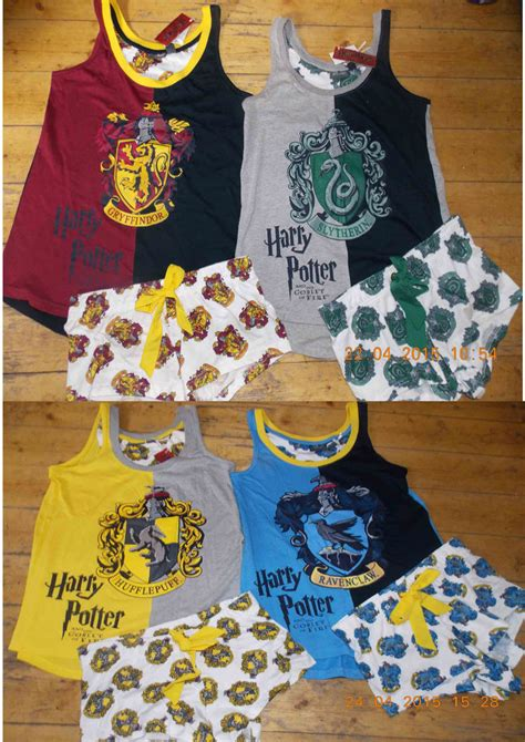 Piyama Pp House harry potter pyjamas hogwarts house crests vest t