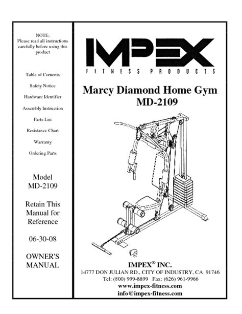 marcy md 2109 manuals users guides