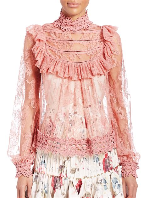 Lace Dress Tosca Blouse zimmermann mischief peony lace blouse in pink lyst