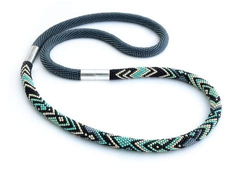 bead crochet rope necklace seed bead crochet necklace