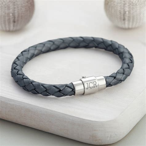 Teenage Boy?s Leather Personalised Clasp Bracelet   Hurleyburley