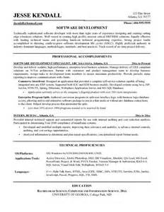 sle resume for software engineer with one year experience software developer resume sle resume 100 images