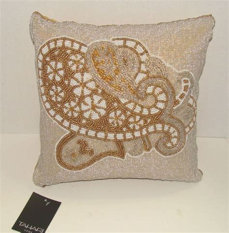 Tahari Pillows by Tahari Home Beaded Gold And White Designer Throw Pillow