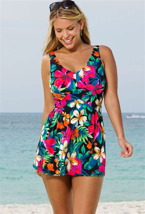 7 Swimsuits For 7 Types by Fiji Plus Size V Neck Swimdress