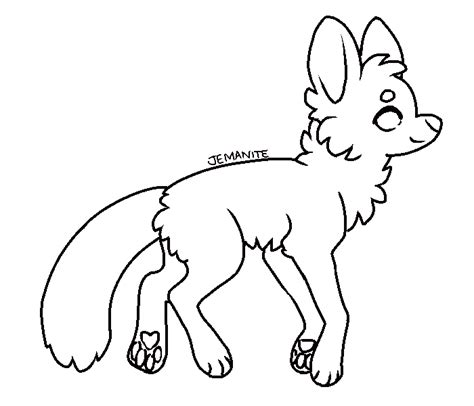 free ms paint friendly fox lineart by jemanite on deviantart