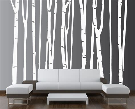 vinyl wall decal forest tree large wall birch tree decal forest vinyl sticker removable nursery 9 trees ebay