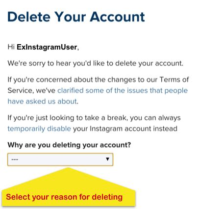 tutorial delete instagram how to permanently delete your instagram account step