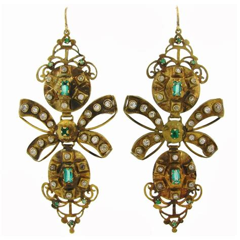 Antique Chandelier Earrings Iberian Antique Emerald Gold Chandelier Earrings At 1stdibs