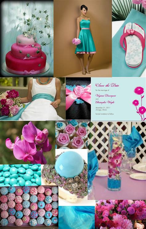 Turquoise And Pink Wedding Decorations by Weddingzilla Turquoise And Pink Wedding Inspiration Board