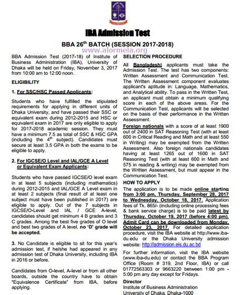 Mba Admission 2017 Du by Iba Bba Admission Circular 2017 18 Of Dhaka