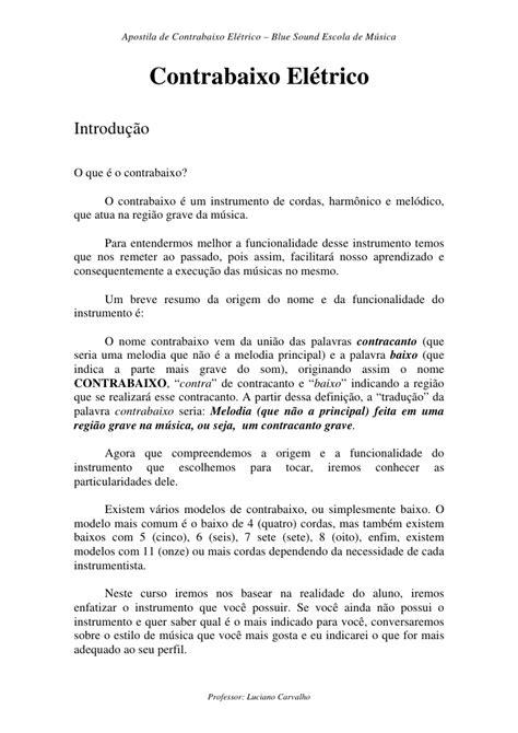 APOSTILA DE CONTRABAIXO PARA INICIANTES EM PDF