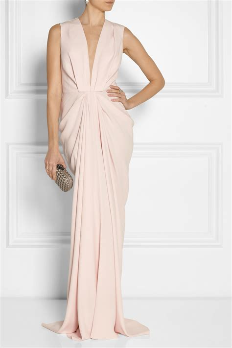 draping clothes thakoon draped matte satin gown in pink lyst