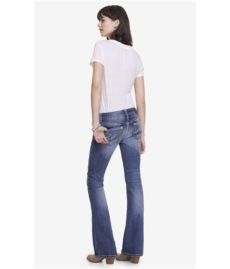 Celana Celana Express Washed Denim Low Rise Boot Cu lyst express low rise thick stitch boot cut jean in blue