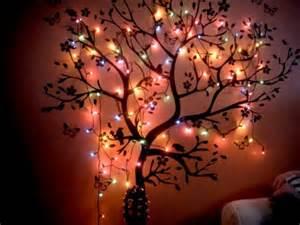 tree of lights on wall bedroom lights tree wall image 270348 on favim
