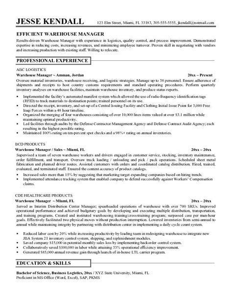 warehouse manager resume templates 7 resume objective for warehouse worker sle resumes