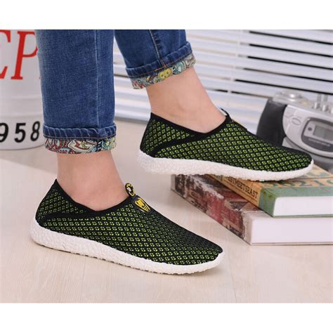 Promo Sepatu Casual 5 sepatu slip on mesh pria size 44 black green