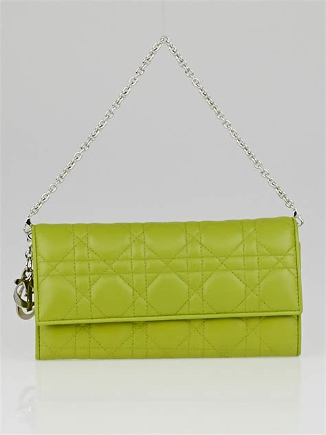 Vinyl Cannage D Clutch by Christian Vert Vif Cannage Quilted Lambskin Leather