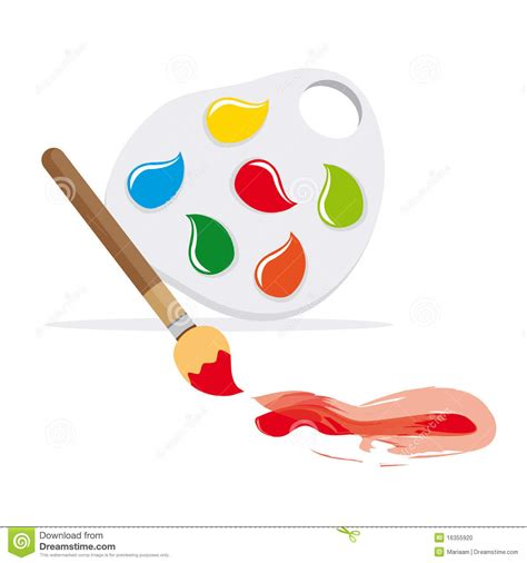paintbrush and color palette stock photo image 16355920
