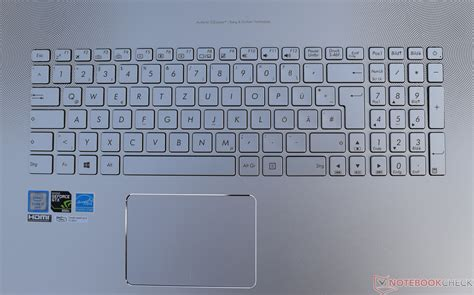 design of keyboard layout asus n752vx gc131t notebook review notebookcheck net reviews