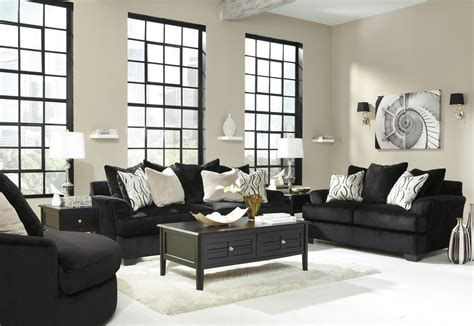 Black Sofa And Loveseat Set by Heflin 4720038 4720035 Black Fabric Sofa And