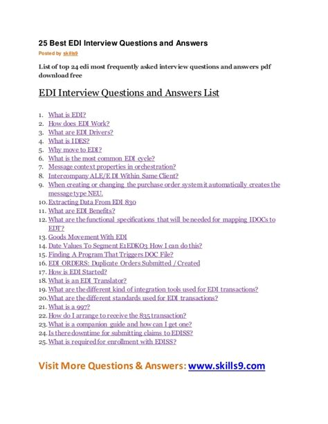 it questions answers for it interviews access lists and prefix lists tunnels and vpns cisco firewall volume 5 books 25 best edi questions and answers