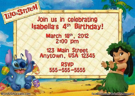 Lilo Stitch Custom Birthday Invitation Kids Birthday Party Ideas Free Lilo And Stitch Invitation Template