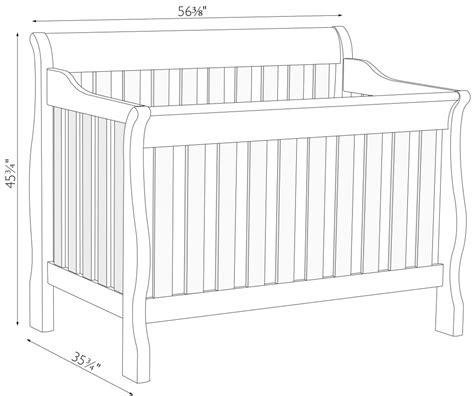 Crib Width by Sleigh Crib Dimensions Amish Traditions Wv