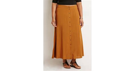 forever 21 plus size buttoned high slit maxi skirt in