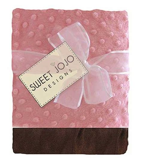 Pink And Brown Baby Blanket by Pink And Brown Chenille Dot And Satin Baby Blanket