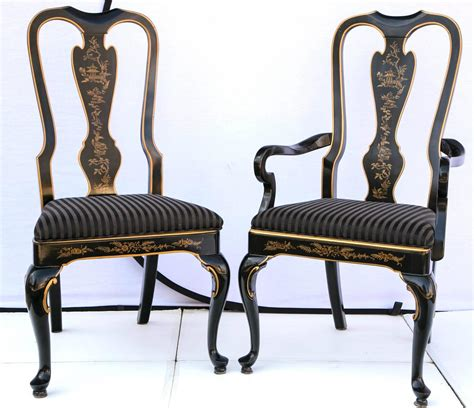 set   drexel heritage black laquered chinoiserie dining chairs  stdibs