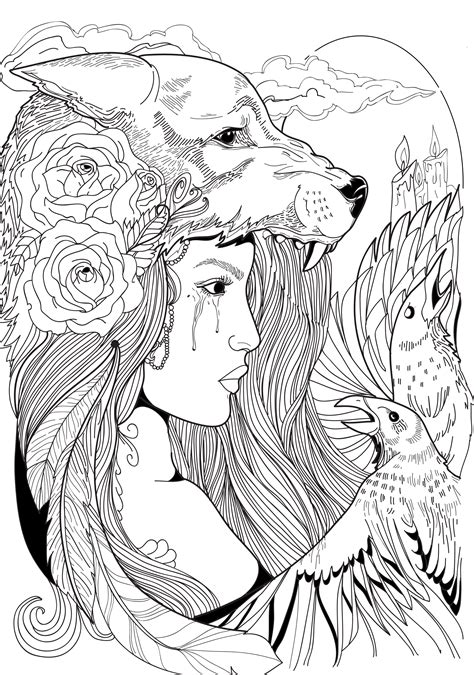 coloring pages for adults tattoo wolf woman crow roses feathers linework tattoo