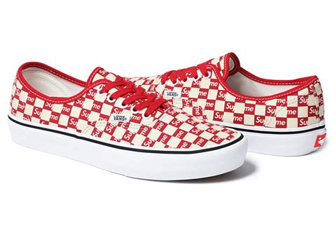 Vans Authentic Checkerboard X Supreme White supreme x vans checkerboard pack sneakerfiles