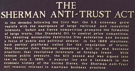 sherman antitrust act section 1 growth and role of the federal government timeline