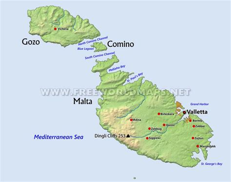 physical map of malta malta physical map