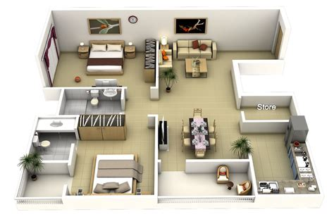 2 bedroom layout plan 50 3d floor plans lay out designs for 2 bedroom house or