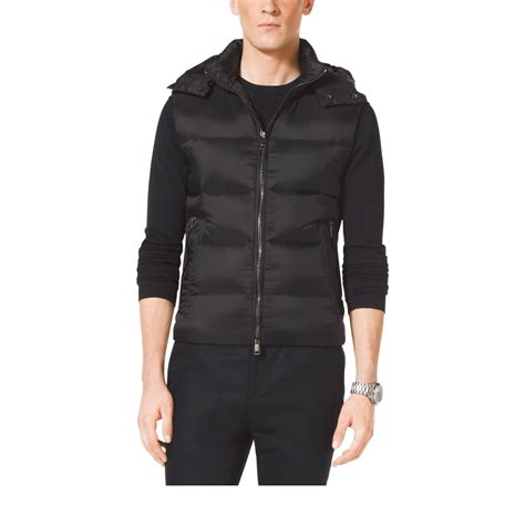 puffer vest michael kors hooded puffer vest in black for lyst