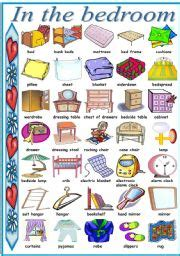 bedroom furniture vocabulary living room dictionary for kids worksheets pinterest