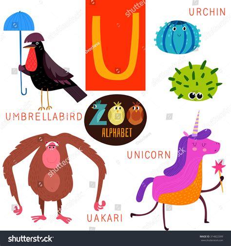 animal alphabet letters q u vector vectores en stock zoo alphabet vector u letter stock vector 314822399