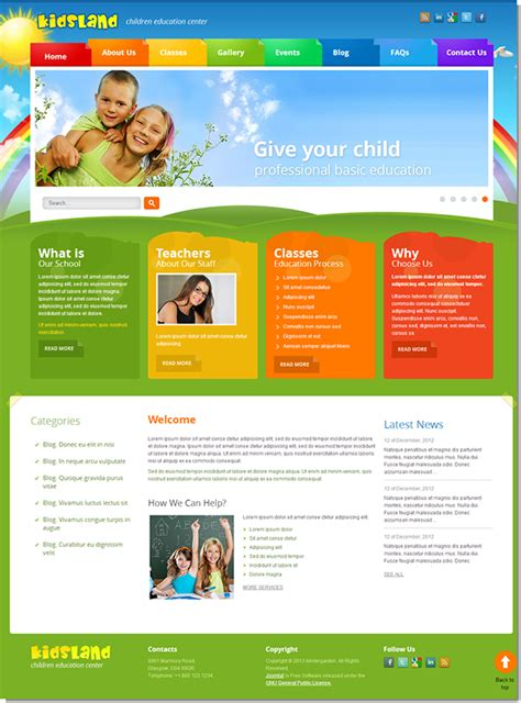 education html templates free land children education center joomla template on behance