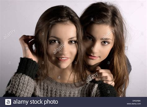 twlin sis beautiful twin sisters stock photo royalty free image