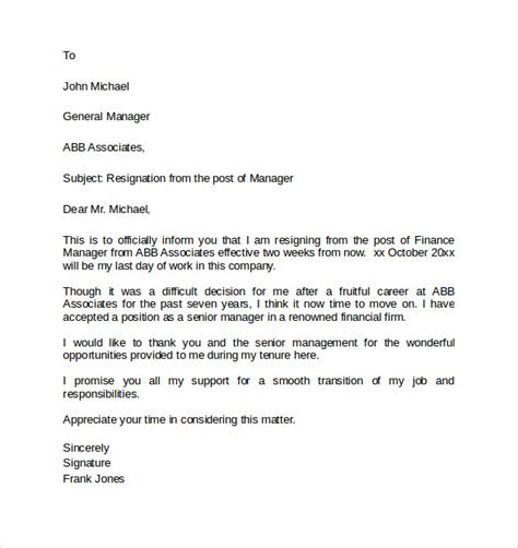 Resignation Letter To Hr And Manager 2 weeks notice letter 8 documents in pdf word
