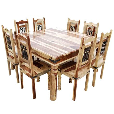 Solid Wood Dining Room Table And Chairs Peoria Solid Wood Large Square Dining Table Chair Set For 8