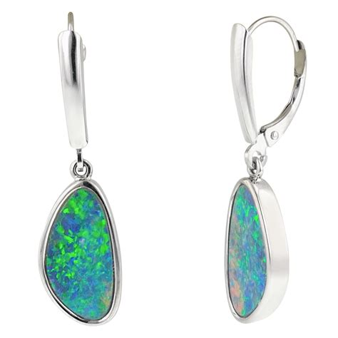 white opal earrings australian opal doublet dangle earrings in 14kt white gold