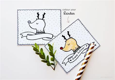 printable reindeer card reindeer printable holiday card design is yay